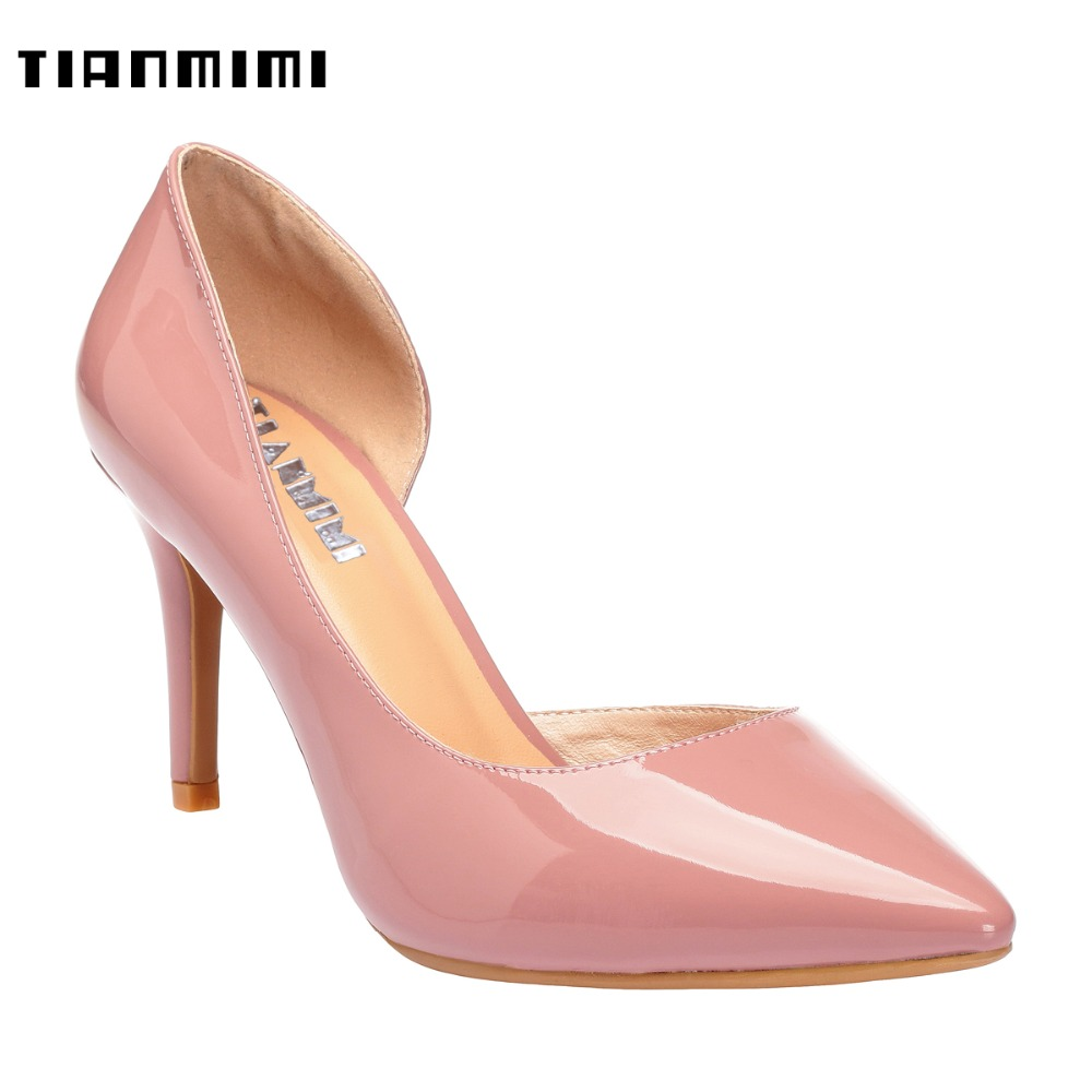TIANMIMI Fashion D'Orsay Stilettos Light Pink Women Pumps 10CM High Thin Heels Patent Leather Pointy Toe Wedding Party Shoes big size 40 41 42 women pumps 11 cm thin heels fashion beautiful pointy toe spell color sexy shoes discount sale free shipping