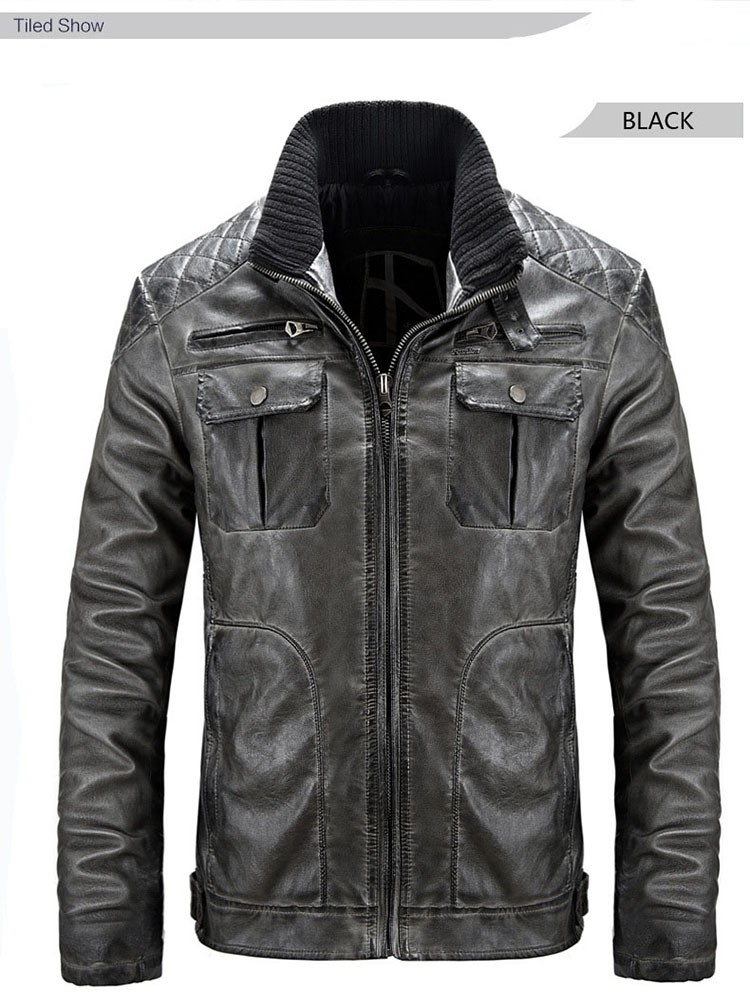 Motorcycle leather jackets men jaqueta de couro masculina 2016 fashion casual pu zipper coat stand collar slim fit outwear M3XL (14)