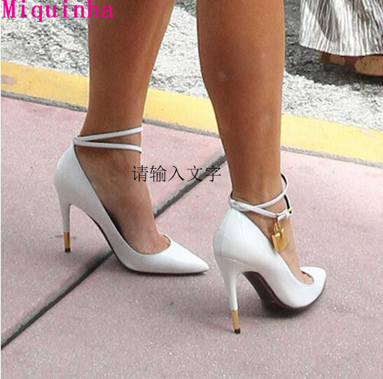 ФОТО Top Selling Suede/Leather Women Pumps Metallic Golden Lock Ankle Strappy High Heels Pointed Toe Party Shoes Woman