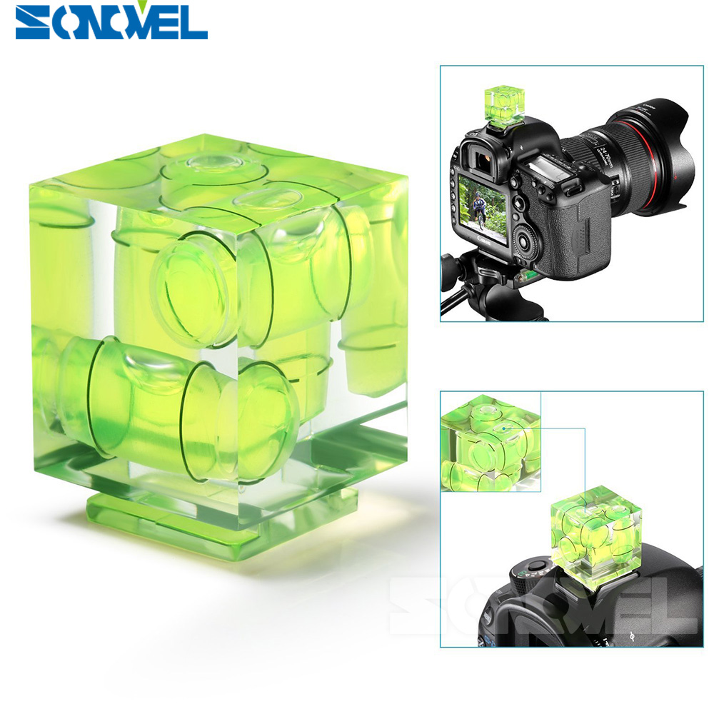 Universal 3-Axis Hot Shoe Fixed Bubble Spirit Level 3D Spirit Level For Canon/Nikon/Pentax DSLR Camera Photography Accessories 3d hot shoe triple axis bubble gradienter for sony canon more green