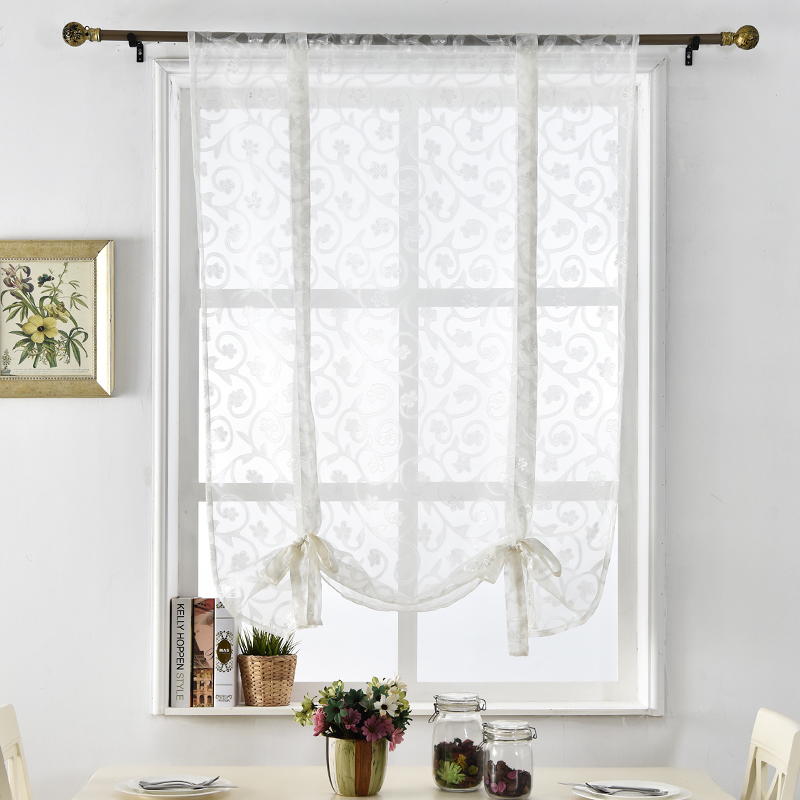 Curtains Tulle Panel Sheer Short Jacquard Butterfly Window