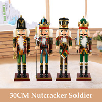 4Pcs/Set 30CM Nutcracker Puppet Home Decoration Craft Christmas Wooden Doll Home Decor Guard Soldier Toy Ornaments Child Gift