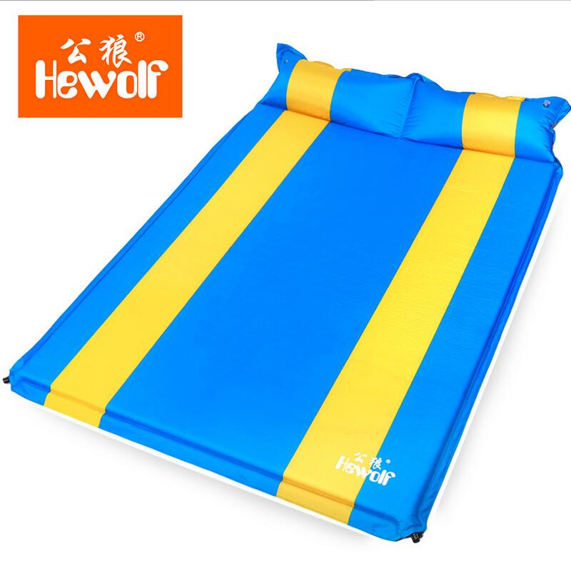 Hewolf Air Bed Automatic inflatable mattress With pillow Double Outdoor Tourism Camping bed sleeping yoga mat pad durable thicken pvc car travel inflatable bed automotive air mattress camping mat with air pump