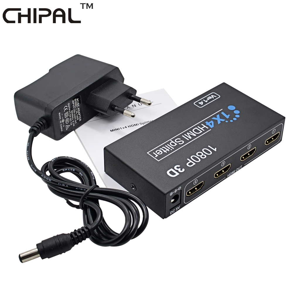 CHIPAL 10PCS HD 1080P 1X4 for HDMI Switch Switcher 1 in 4 Out HDCP Splitter 3D
