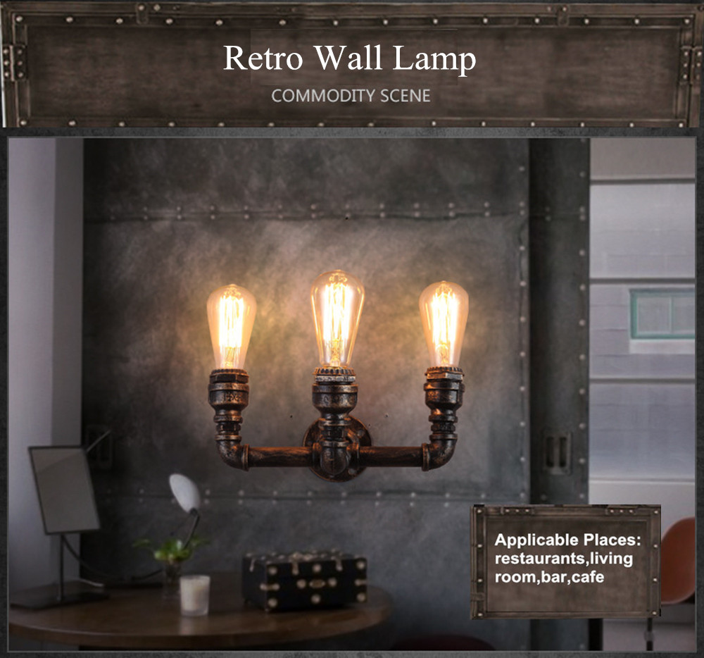 Vintage Rust Water Pipe Steam Punk Loft Industrial Iron Retro Wall Lamp E27 Vintage Sconce Lights for Living Room Bedroom Bar black color pipe retro loft vintage iron shade wall lamp sconces industrial home lighting fixture for living room free shipping