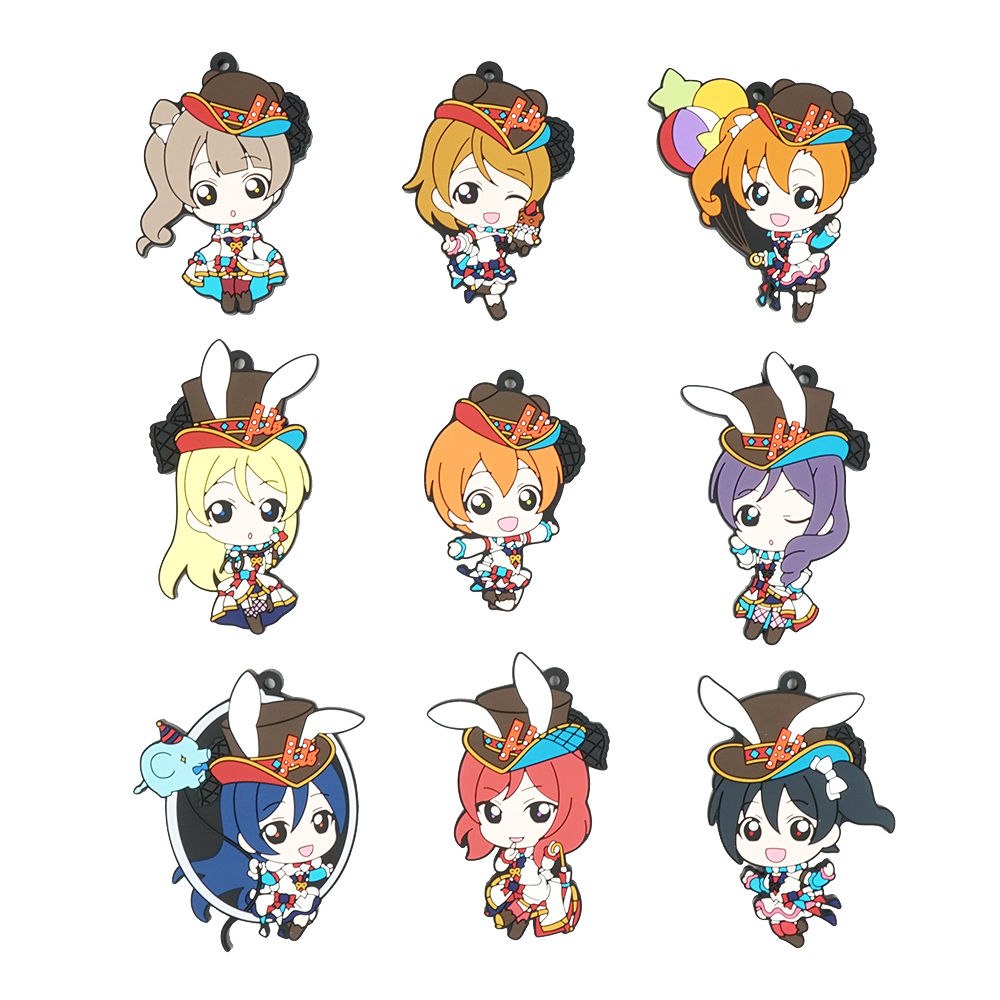 Love Live Lovelive Circus Anime Minami Kotori Nico Eli Rin Umi Maki Tojo Nozomi Hanayo Honoka Rubber Keychain new arrival lovelive love live minami kotori lovely wig cosplay for women girl heat resistant synthetic hair wigs free shipping page 3