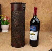 Hediye of saklama kutusu ahşap şarap kutusu Şarap kutusu silindir