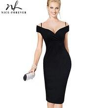 니스 영원히 새로운 섹시 우아한 단색 세련된 캐주얼 작업 스트랩 슬래시 목 Bodycon 무릎 미디 여성 공식 연필 드레스 B309