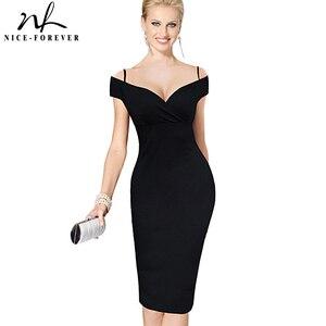 Image 1 - Güzel sonsuza kadar yeni seksi zarif katı şık rahat iş kayış Slash boyun Bodycon diz Midi kadın resmi kalem elbise b309