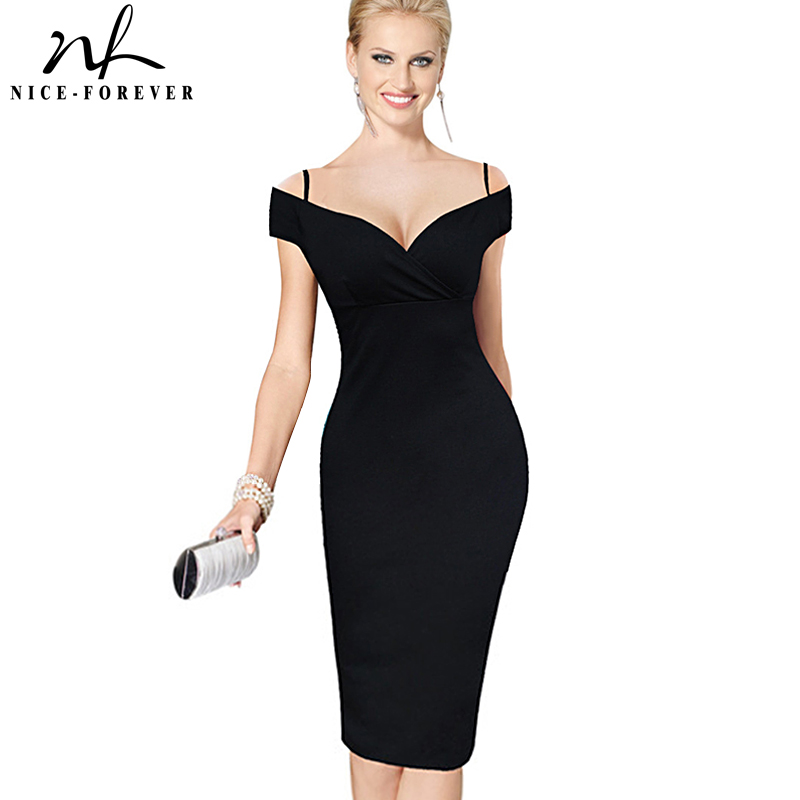 Nice-forever New Sexy Elegante Solid Elegante Casual Cinghia da lavoro Slash Neck Bodycon Ginocchio Midi Donne Formal Pencil Dress B309