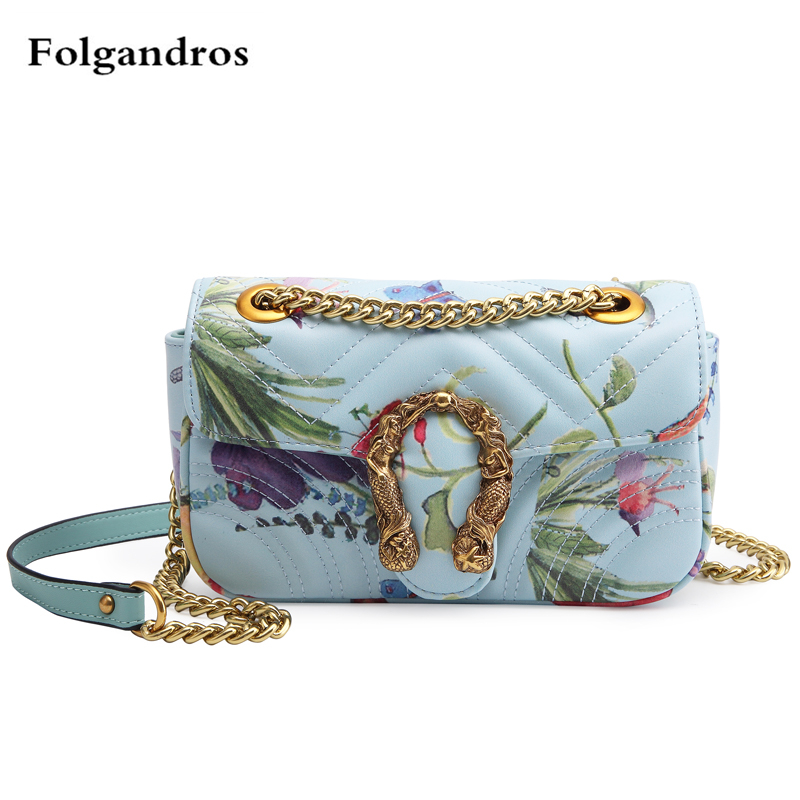 Luxury Brand Designer Women Fashion Flowers Printed Chain Shoulder Messenger Bag Female Leather Flap Clutches Purse Blue Handbag fashion new design pu leather lotus wave female chain purse shoulder bag handbag ladies crossbody messenger bag women s flap