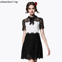 European And Korea Most Popular Dresses 2017 Summer Bow Large Size Ladies Barbie Fashion Stitching Lace