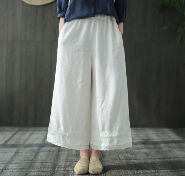 Spring Soft Linen Embroidered Elastic Waist Literary Loose Casual Lace Up Wide Leg Pants for Women Ladies Retro Capris Pants