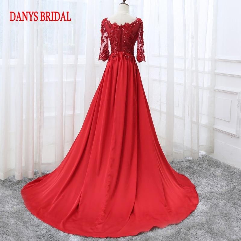 Robe de soirée longue en dentelle rouge à manches - Habillez-vous pour des occasions spéciales - Photo 3