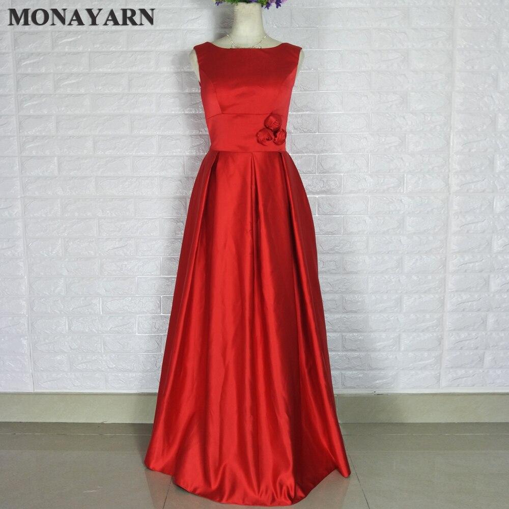 Pas cher 2018 nouvelle dernière élégante sans manches bas dos rouge bleu pas cher longue Satin robes de demoiselle d'honneur formelle Banquet dîner robe de bal
