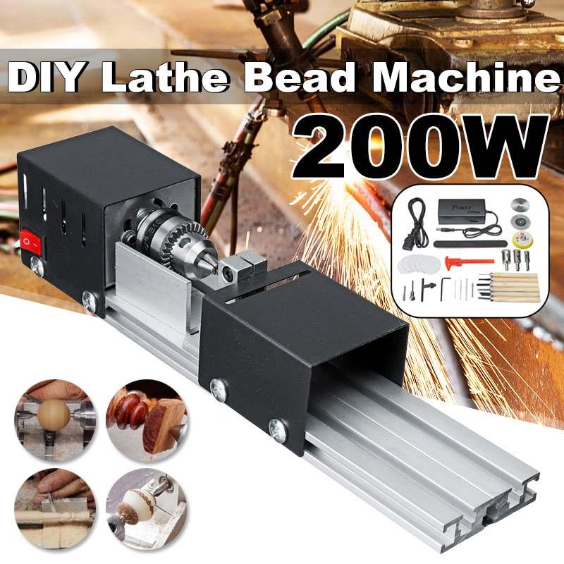 200W CNC Mini Drehmaschine Werkzeug torno DIY Holzbearbeitung Holz drehmaschine Fräsen maschine Schleifen Polieren Perlen Bohrer Dreh Werkzeug set