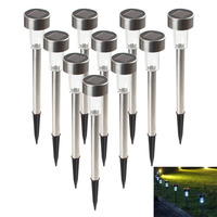 10Pcs Outdoor Stainless Steel LED Solar Landscape Path Lights Yard Lamp