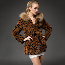 2016 women natural real rabbit fur coat with hoody raccoon fur trim middle long leopard black color slim belt for lady garment