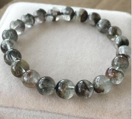 free shipping 8.5mm Natural Green Phantom Ghost Garden ... Quartz Crystal Beads