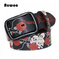 PONIKSON Hot Fashion Genuine Leather Belt Hip-Hop Skull Red Rose Printed Belt Strap Female Women Men cinto de couro Jeans Belts