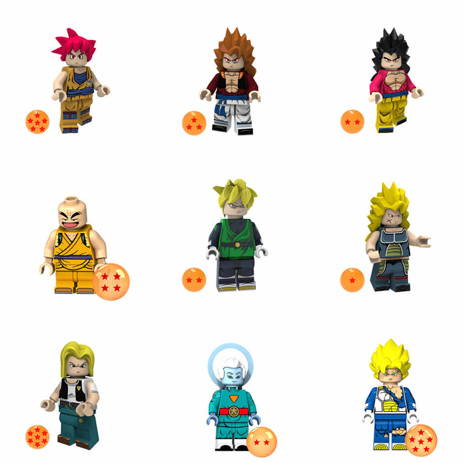 1 Pcs Sell Dragon Ball Super Building Blocks Brolly Black Goku Sun Vegeta Learning Action Figures Gift Toy Legoing Minifigured