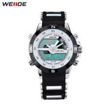 2013 Brand New WEIDE men LED Luminous analog digit dual time display Date Week Alarm luxury brand sport watch unique design 3ATM
