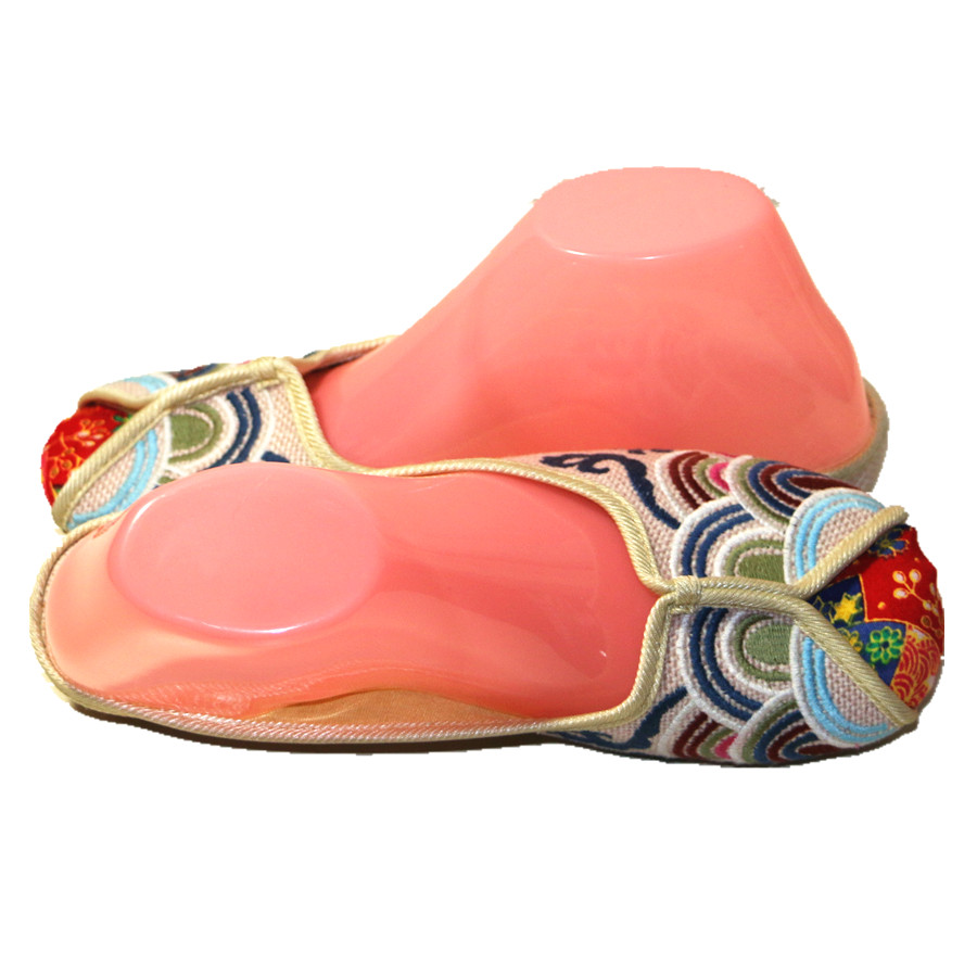 Ethnic Embroidered Women Slippers Ladies Wedges Slides Cotton Fabric Round Toe Canvas Mules Casual Pumps Shoe Propitious Clouds 4