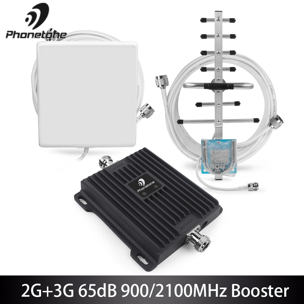 Cell Phone Signal Booster 2G EGSM 900MHz 3G WCDMA 2100MHz Gain 65dB Network Booster GSM Repeater Amplifier+Yagi Antennas FullsetCell Phone Signal Booster 2G EGSM 900MHz 3G WCDMA 2100MHz Gain 65dB Network Booster GSM Repeater Amplifier+Yagi Antennas Fullset