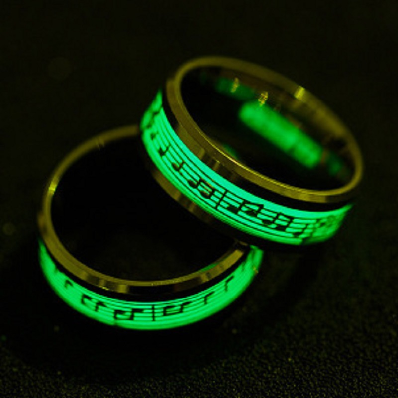 TJP 1 pcs Antique Silver Gold Piano Music Luminous Glow Stainless Steel Ring Explosion Musical Note Fluorescence Jewelry in Rings from Jewelry Accessories