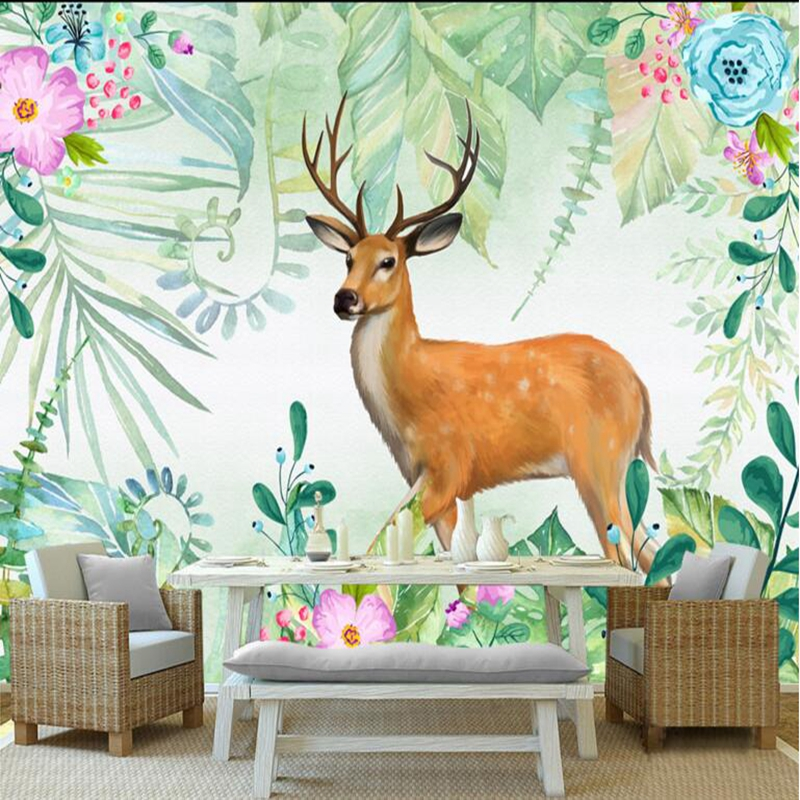 Custom 3d Wallpaper Elk Watercolor Leaves Hand Painted 3d Mural Wallpaper for Bedroom Walls Wallpapers for Boys and Girls Room custom baby wallpaper snow white and the seven dwarfs bedroom for the children s room mural backdrop stereoscopic 3d