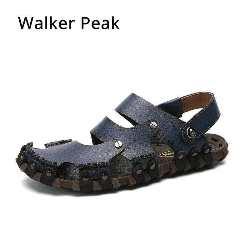 Super Soft Genuine Leather Beach Sandals for Men Handmade Men Summer Lazy Casual Shoes Non Slip Classics Men Slippers Walkerpeak