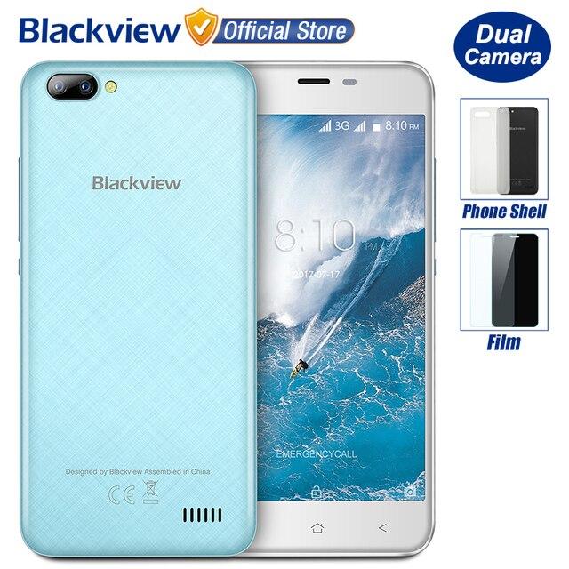 Nueva Blackview A7 Dual Cámaras Traseras Smartphone de 5.0 pulgadas HD MTK6580A Quad Core Android 7.0 1 GB RAM 8 GB ROM 5MP Cámara 2800 mAh batería