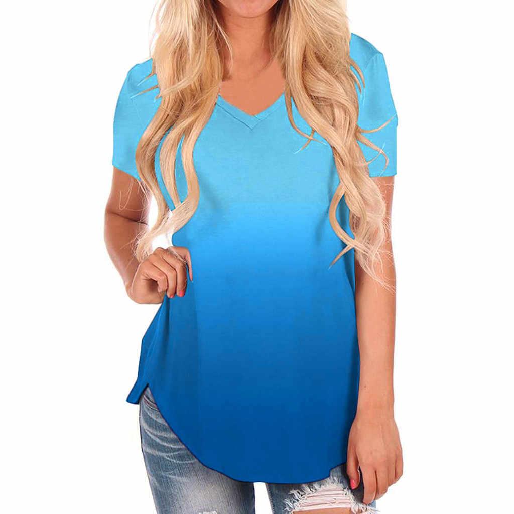 Plus rozmiar T koszula kobiety moda lato 2020 dekolt w serek Gradient kolor Streetwear koszulka na co dzień luźna koszulka femme