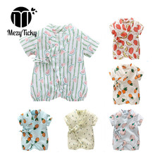 Summer infant Cotton Rompers 0-2Y Newborn Short Sleeve Outfits Baby Girls Fruit Print Clothes Kids Boys Belt Jumpsuit Outerwear