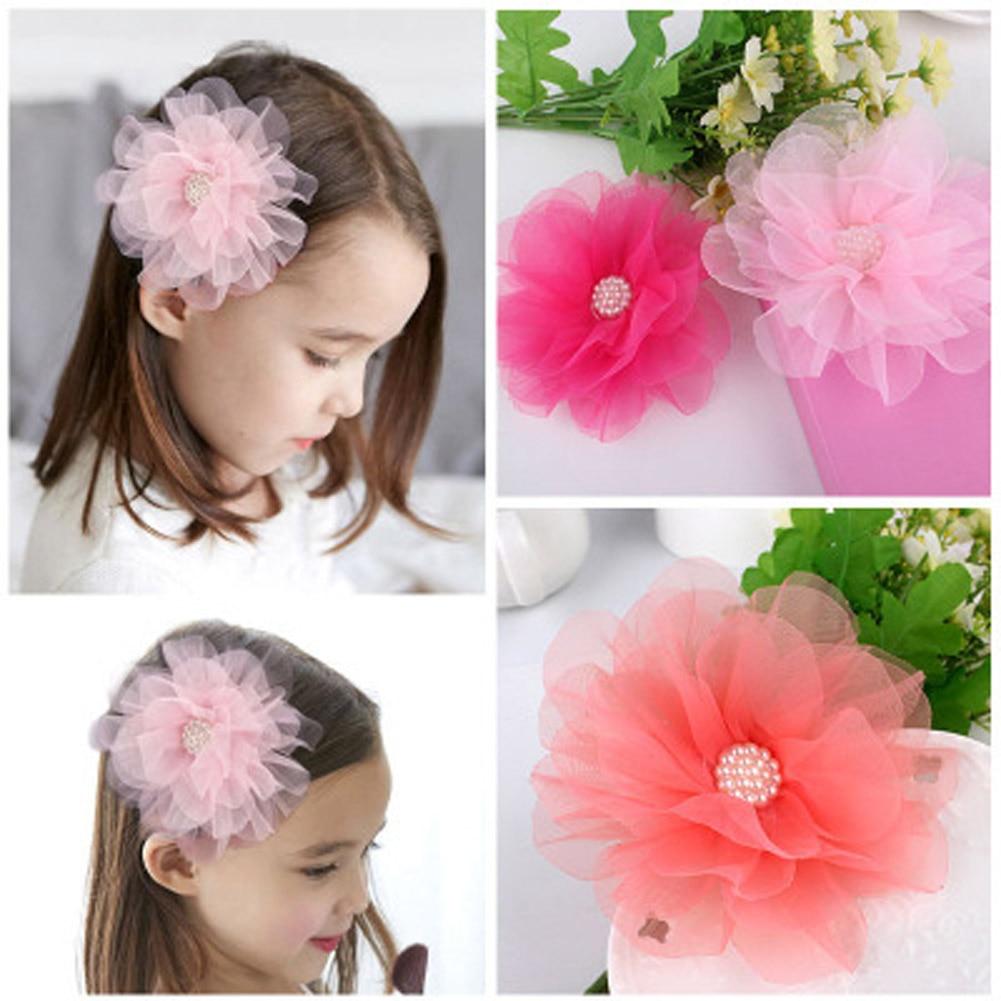 Erfinderisch Neue Heiße Verkauf 1 StÜck Große Chiffon Blume Simulieren Perle Mädchen Haarspangen Kinder Seitlichem Haarnadel Zubehör Nettes Geschenk Sparen Sie 50-70%