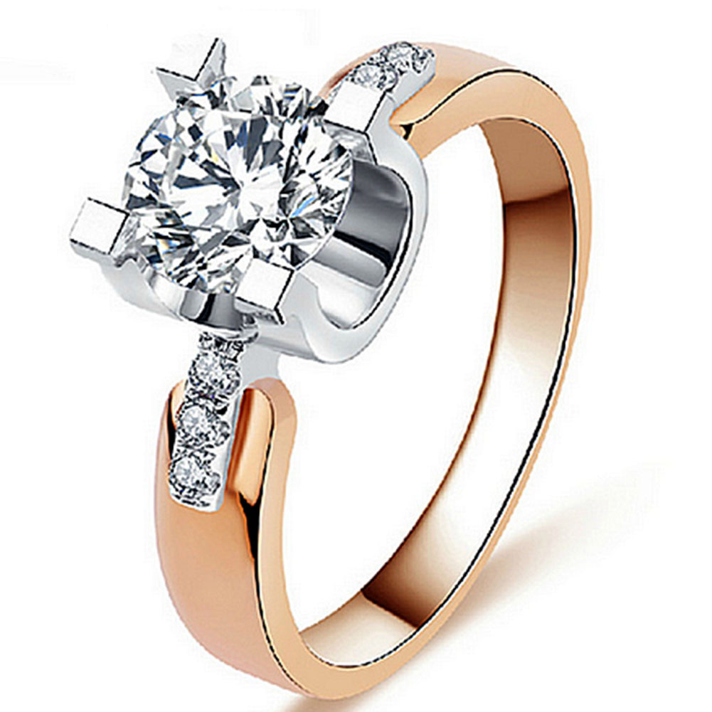 2colors 6size Freeshipping Classical Prong Setting CZ Wedding Ring Plated Wholesale For Women high quality