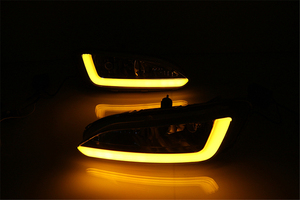 Image 5 - רכב מהבהב 2pcs DRL ליונדאי סנטה פה IX45 2013 2014 2015 נהיגה בשעות היום ריצת אור ערפל מנורת ממסר LED אור יום סגנון