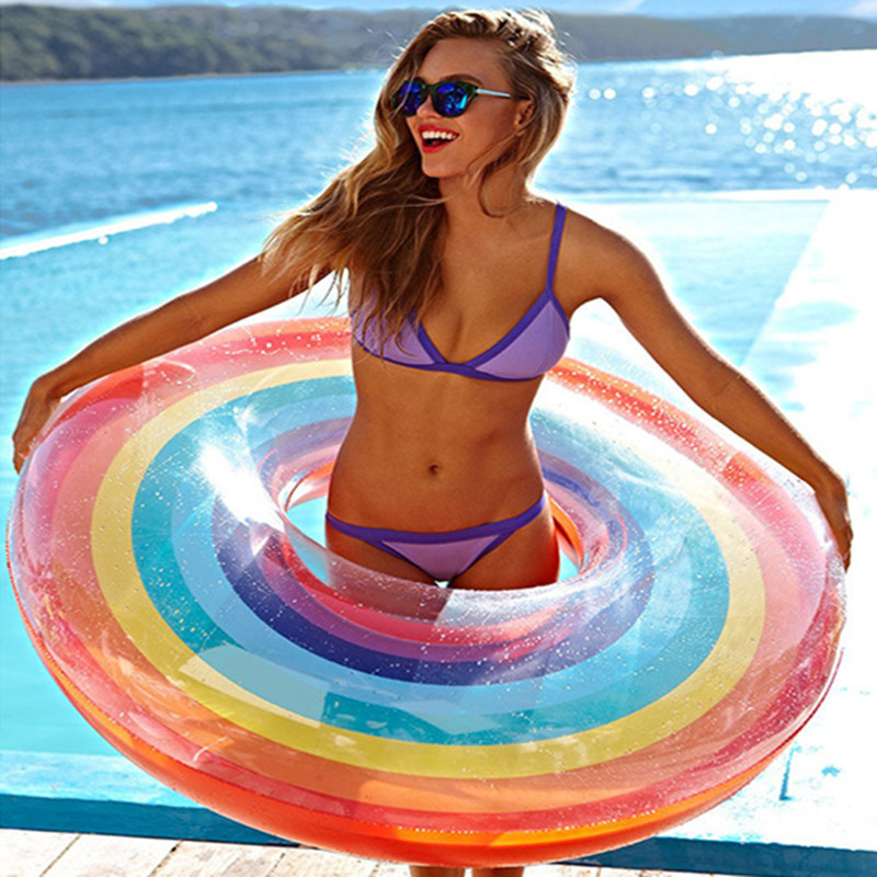 60cm-120cm Giant Inflatable Swiming Ring With Colorful Rainbow For Adults Kids Summer Pool Float Water Toys Piscina