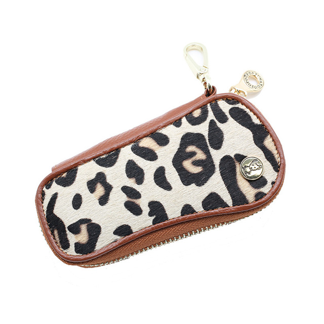 Genuine Leather Leopard Car Key Wallets Key Holder Housekeeper Keys Organizer Women Keychain Covers Zipper Key Case Bag