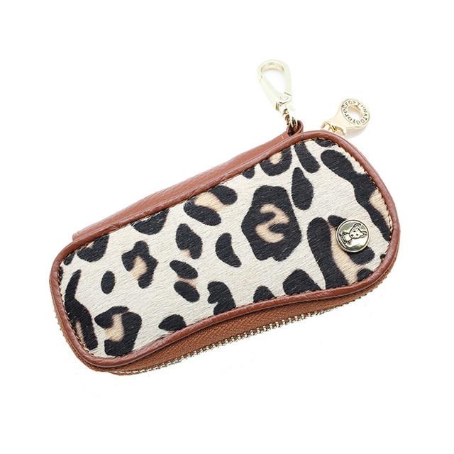 Genuine Leather Leopard Car Key Wallets Key Holder Housekeeper Keys Organizer Women Keychain Covers Zipper Key Case Bag