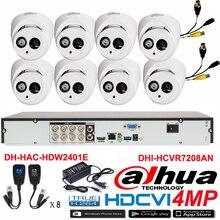 Original DAHUA 4MP Waterproof Camera DH-HAC-HDW2401E CVI Dome camera with 8CH Digital CVR DHI-HCVR7208AN security camera kit
