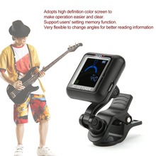 TSAI AT-102 Rechargeable Electronic Tuner Rotatable Clip-on Guitar Tuner with Colored Screen Display for Chromatic Guitar