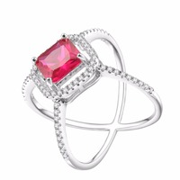 HeeZen Luxury Plated Silver Red AAA CZ Rings For Women Wedding Engagement Evening Party Rings Jewelry