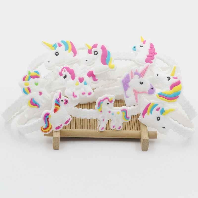 10 piezas de decoración de fiesta de goma pulsera brazalete de decoraciones de fiesta de cumpleaños de los niños regalos bebé ducha Unicornio fiesta