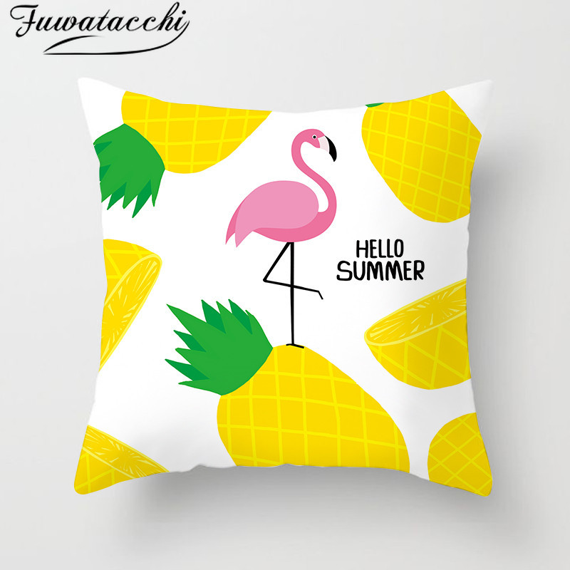 Fuwatacchi Tropical Fruit Plant Paint Cushion Cover Flamingo Pineapple Flower Pillow  Throw Pillows Decor Para Sofa