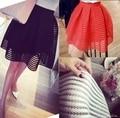2016 лето новый стиль sexy моды юбка женская полосатый полым из пышная юбка качели юбки дамы Черный Бальное платье saia faldas