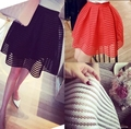 2016 summer new style sexy fashion skirt womens striped hollow-out fluffy skirt swing skirt ladies Black Ball Gown saia faldas