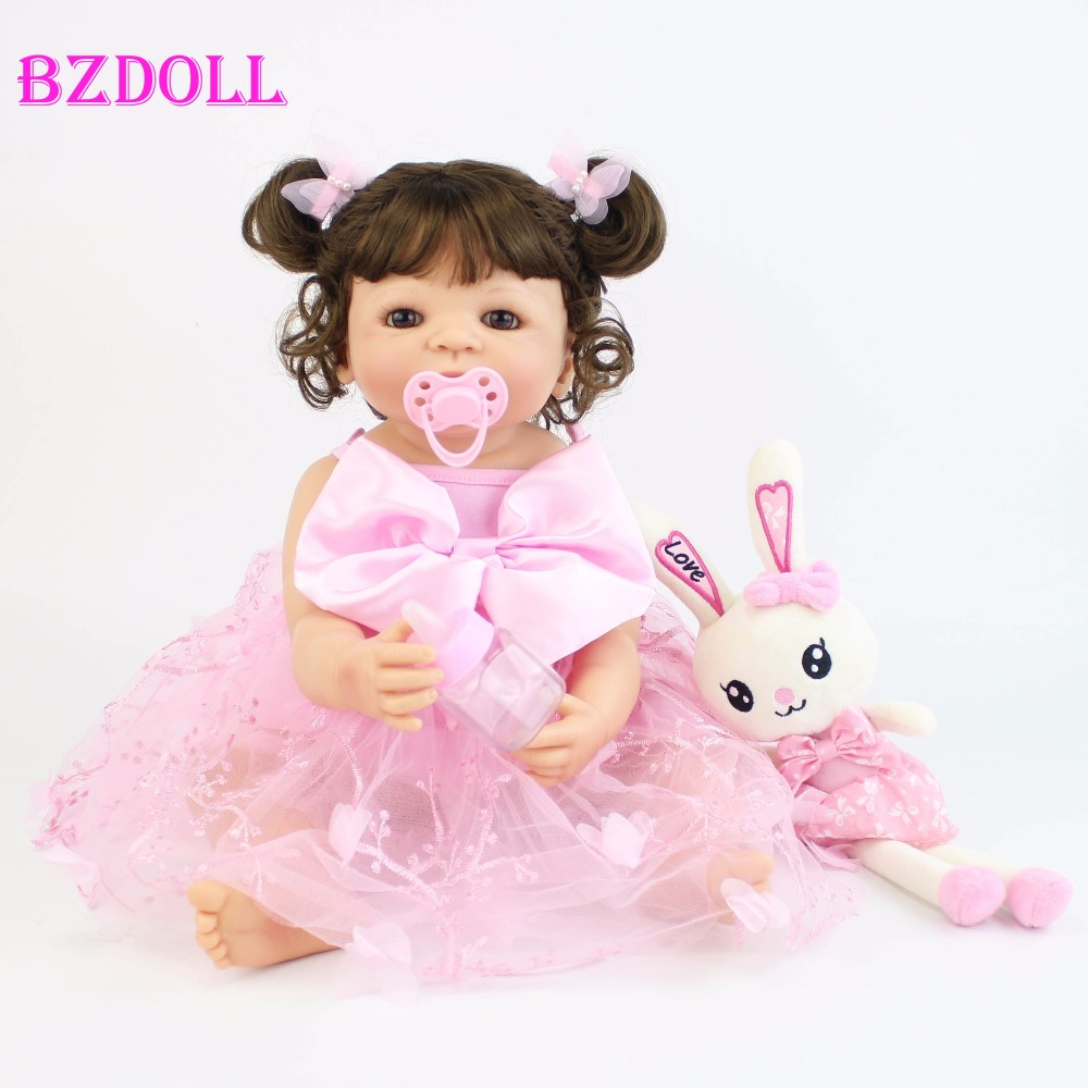55cm Full Silicone Reborn Baby Doll Toy For Girl Vinyl Newborn Princess Babies Bebe Bathe Accompanying Toy Birthday Gift-in Dolls from Toys & Hobbies    1