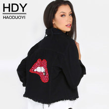 HDY Women Coats Autumn Black Turn Down Collar Red Lips Sequined Denim