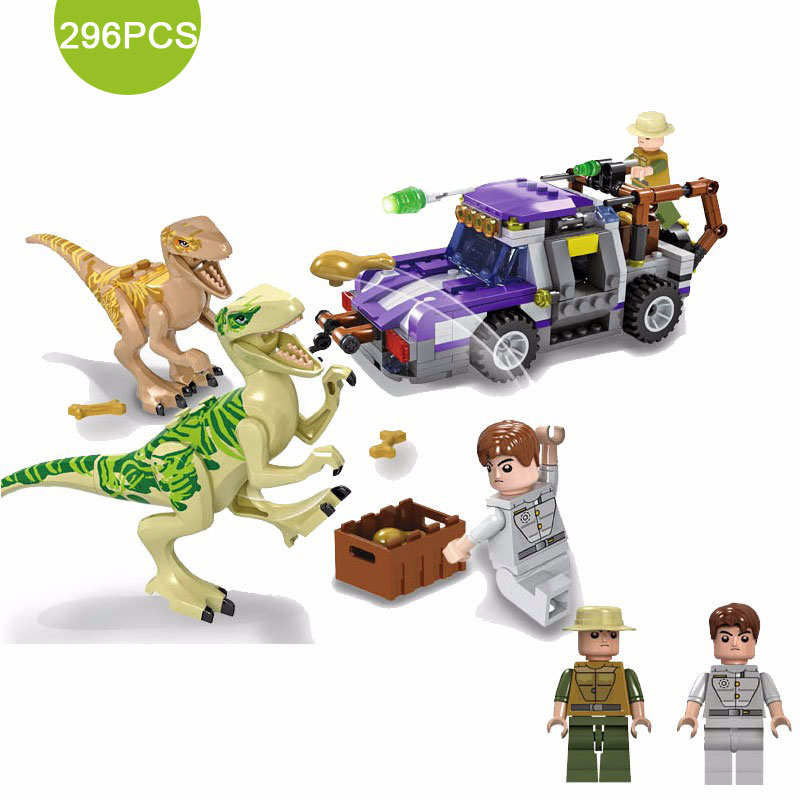 296PCS Jurassic  Dinosaurs Tyrannosaurus Rex Base Model T-Rex Spinosaurus Action Figures Building Block Brick Toy For Kids jurassic monster action tyrannosaurus rex can use electric to lay an egg with light simulation model children s toy